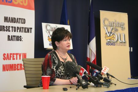 "Joan Jessome, President of the NSGEU, at today's press conference. ""Nurses are telling us that their voices are not going to be silenced if legislation is brought in."" Photo Robert Devet"