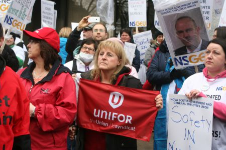 It's not just about nurses in Halifax anymore.  Members of many unions joined forces during the rally against Bill 37 at Province House for a reason.  Two union activists from Cape Breton talk about how they are affected.  Photo Robert Devet