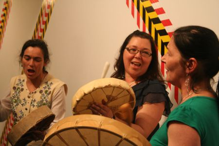 Members of the All Nations Drummers at the kick-off of this year's MayWorksHalifax Festival, ten days of celebration of the arts and resistance.  Photo Robert Devet