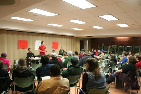 Lots of people came out to the Gotttingen Street public library to talk about housing issues facing people on low income. The meeting was organized by ACORN Nova Scotia.  Photo Robert Devet