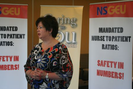 Joan Jessome told a press conference today that suspending nurses for two days without pay is excessive and is only making things worse.  Photo Robert Devet