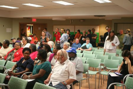 60 or so North End residents attended a community meeting about the future of the now vacant St.Pat's-Alexandra school.  They had lots of ideas about what that future should look like. Photo Robert Devet