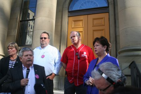 They are angry. Janet Hazelton of the NSNU, Rick Clarke of the NS Federation of Labour, Danny Cavanagh of CUPE NS, Corey Vermey of Unifor, and Joan Jessome of the NSGEU held a press conference on the steps of Province House to protest new legislation that imposes specific unions on healthcare workers. Photo Robert Devet