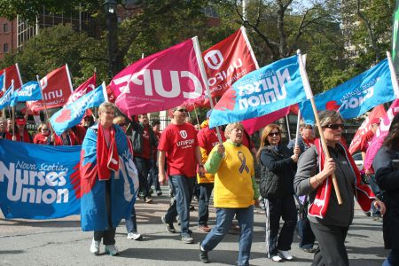 Janet Hazelton (far right), president of the NS Nurses Union, during on of the many fall rallies at the legislature. Hazelton worries that introducing for-profits into home-care will cause uncertainty for nurses and reduce quality of care. photo Robert Devet