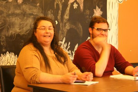 No money for food, rent, medication, shoes, and no help or empathy from Community Services, was the complaint of many at last weeks Town Hall on Income Assistance. Bonnie Barrett, Chair of ACORN NS, and Evan Coole of Dalhousie Legal Aid, were among the panelists. Photo Robert Devet