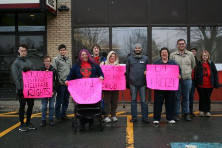 Do these people look threatening or what? Members of ACORN Nova Scotia and supporters briefly occupied Community Services Minister Joanne Bernard's constituency office to bring attention to the Liberal budget's effects on people living in poverty. Photo Robert Devet
