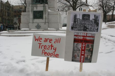 Idle No More organizers turned back at key All Chiefs Meetings in Dartmouth [Photo: Miles Howe]