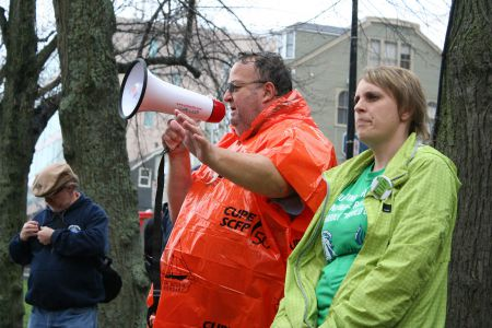 Danny Cavanagh, Nova Scotia president of CUPE, addresses a Halifax Water rally at City Hall earlier this year. Cavanagh and other union leaders will meet with Nova Scotia's finance minister to talk about upcoming bargaining sessions and the economic climate. Cavanagh isn't holding his breath, he tells the halifax media co-op. Photo Robert Devet