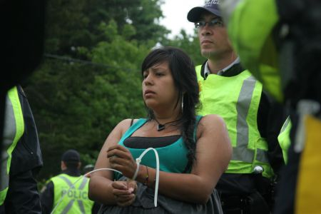 Elsipogtog community member, eight and a half months pregnant. [Photo: M. Howe]