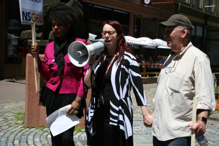 Jade Peek (SUNSCAD), Christina Warren (NSGEU Local 82) and Alvin Comiter (FUNSCAD) stand united in their opposition to the recent layoffs at NSCAD University. Photo Robert Devet