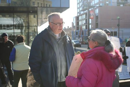 Dan Troke, CEO of Housing Nova Scotia, talked with the protesters but made no commitments. Photo Robert Devet