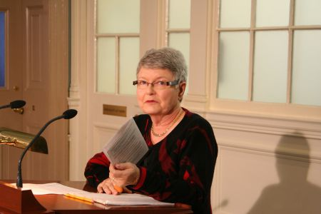 Lois Miller of the Community Homes Action Group, addresses a press conference at Province House. She says that Community Services is not at all delivering on earlier promises to persons with disabilities. Photo Robert Devet