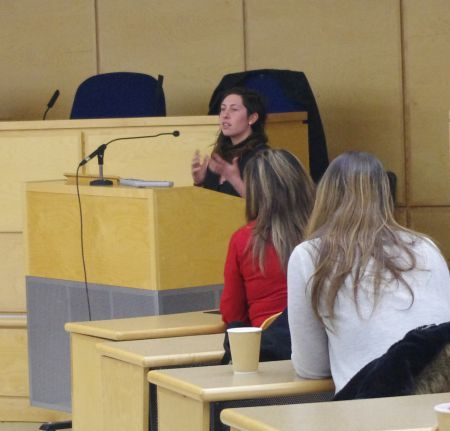 "Prison abolitionist Jean Catherine Steinberg during the panel discussion, ""Prying into Prisons: Critical Perspectives on the Canadian System"", Tuesday, March 3 at the Schulich School of Law, Dalhousie University. [Photo: L. Shepherd]"