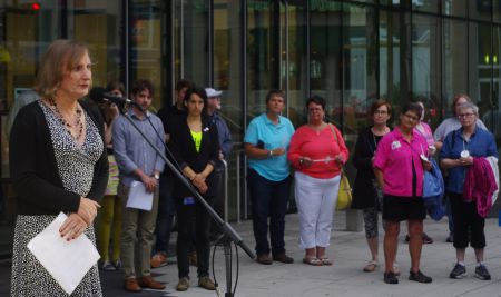 Halifax Pride Parade Grand Marshall, Kate Shewan, speaking at the International Candlight Vigil.