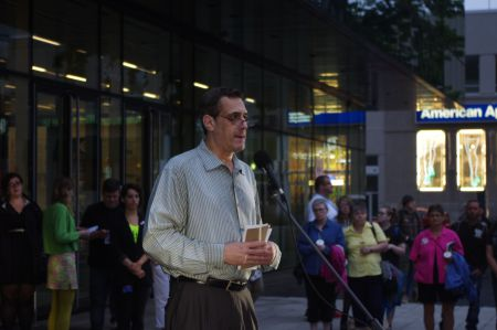 "Halifax Pride International Candlelight Vigil keynote speaker, Stuart Milk, nephew of Harvey Milk and president of the Harvey Milk Foundation,""The fact that we are different is our strength!"""