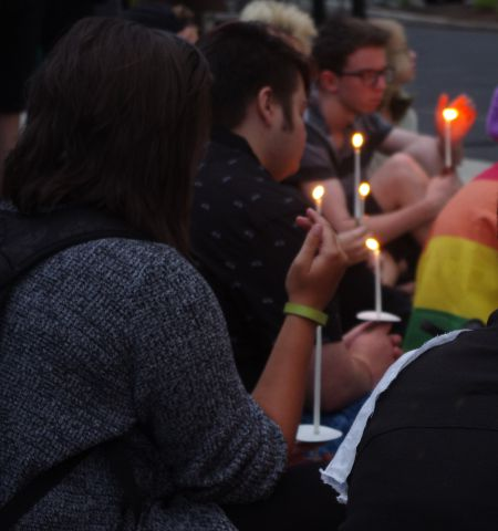 Candle lit at the Halifax Pride International Candlelight Vigil, Monday, July 20, 2015. [All photos: L. Shepherd]