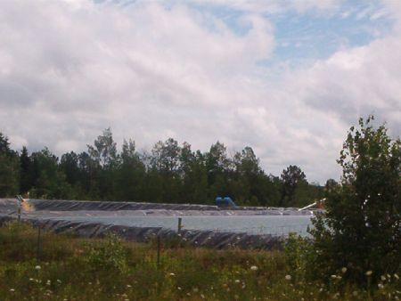 The main fracking waste holding pond at the Atlantic Industrial Services Debert facility.