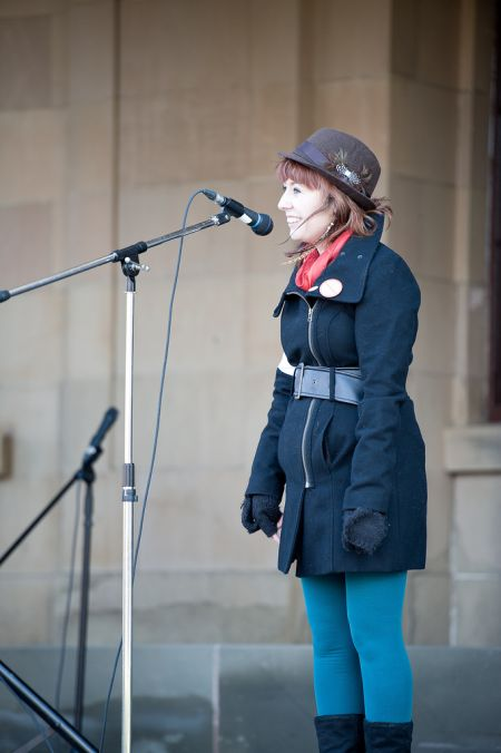 Active-8! youth leadership award recipient Kandace Hagen speaking at the November 2011 reproductive rights rally in Charlottetown (Patrick Callbeck photo).