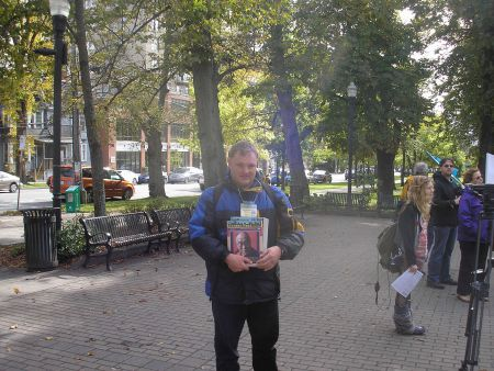 """Kendall Worth is a regular contributor to the Halifax Media Co-op.  Here, he is seen selling the """"voice of the poor"""" newspaper, Street Feat"""