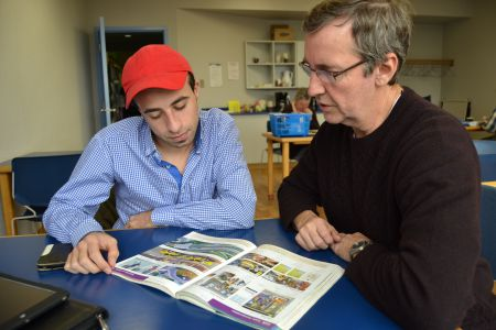 Mohammed Yanes (left) spends a few hours a week with one-on-one English tutor Kevin Hall (right) thanks to the library's English Language Learning Program. The library is searching for more volunteers to meet the demand of Syrian refugees moving to HRM neighbourhoods. [Photo: Chris Muise]