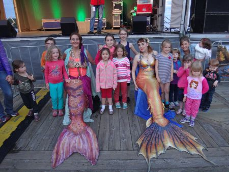 Rebecca Marriott (Mermaid Mimi) and Stephanie Brown (Rain Mermaid) are two of the Halifax Mermaids. They use their mermaid personas to spread awareness about ocean pollution and other issues. [Photo: S. Norman]