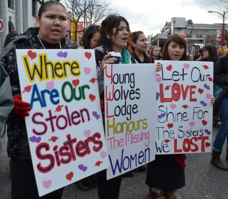 Every February, marches take place across Canada in memory of over 600 missing and murdered Aboriginal women.   Photo: Murray Bush - flux photo.
