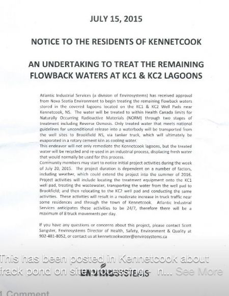 Minister Delorey consults with the community: notification posted on Kennetcook Pharmacy door.