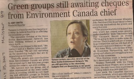 2006 and 2007 were the first years that Environment Canada delayed funding to the Canadian Environmental Network, as noted by several Nova Scotian environmentalists in this 2007 article. The delays became habit, and finally this October, a six-month delay turned into a funding termination.