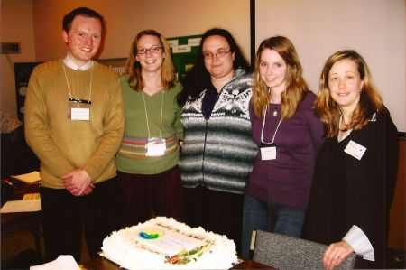 NSEN's 15th anniversary in 2007 also marked its inaugural Eco-Hero awards ceremony. Five Eco-Heroes were created to recognize individuals and groups who contribute to environmentalism in Nova Scotia. Photographed here, left to right: Alex MacDonald (Nature Nova Scotia), Janelle Frail (Canadian Parks and Wilderness Society), Emma Boardman (Ecology Action Centre), Emily MacMillan (Sierra Club Atlantic), Tamara Lorincz (Executive Director, NSEN).