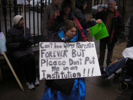 December 2012 rally at Province House. A Human Rights complaint may compel Community Services to provide community-based living to people who are labeled as living with disabilities. Photo Robert Devet