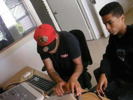 Producer Jordan Metro, left, and BenG swap ideas and tunes at Centreline Studio on Gottingen Street. (Photo: Rana Encol)