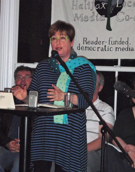 "Judy Haiven speaks at the Halifax Media Co-op's ""The State of our Unions"" event last month. (Photo: Palmira Boutilier)"