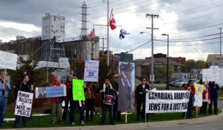 Protesters outside Negev Dinner, at the Cunard Centre, Halifax