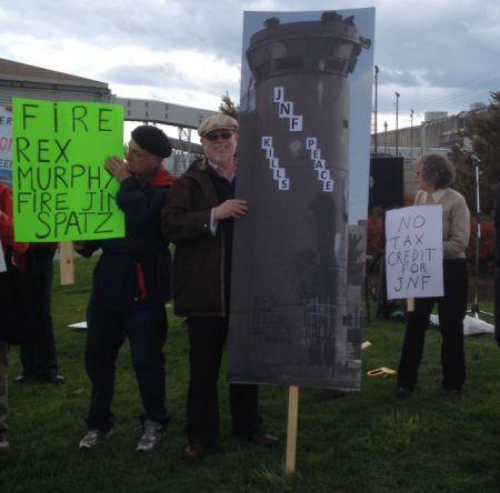 Haiven with his 6 foot sign- JNF Kills Peace