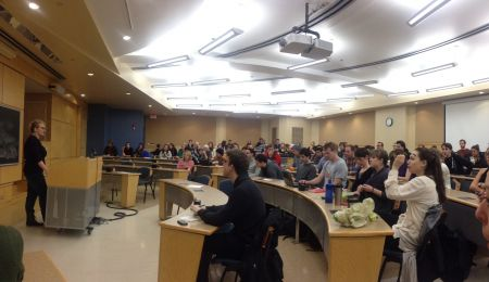 OUTLaw speaking at the Case Against Trinity Western by Professor Elaine Craig at Schulich School of Law. Photo: Sylvie Okros