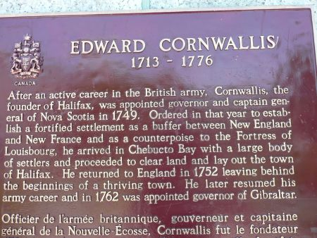 A plaque commemorating Edward Cornwallis, which makes no mention of his attempt to exterminate the Mi'kmaq (Photo: Hillary Lindsay)