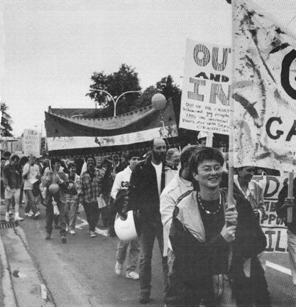 Spectators hurled angry insults at 1988 Pride Parade participants (Photo courtesy of Chris Aucoin). One session of the conference is dedicated to stories from the LGBTQ, Women's and Indigenous Decolonization movements.