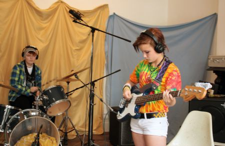 Girls wrote and recorded their own songs this week at the camp. (Photo by Hilary Beaumont)