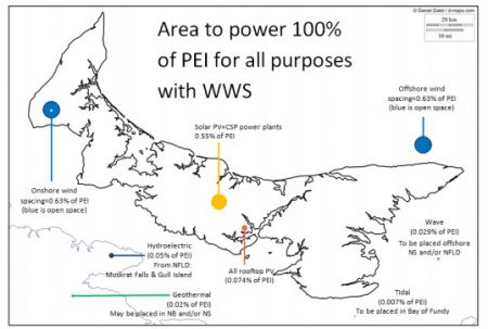 Possible renewable energy sources on Prince Edward Island. Actual locations will differ. (Map: Matthew McCarville)