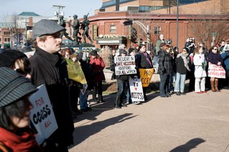 PEI's first demonstration in support of reproductive rights in over 20 years took place November 2011 in Charlottetown (Patrick Callbeck photo).