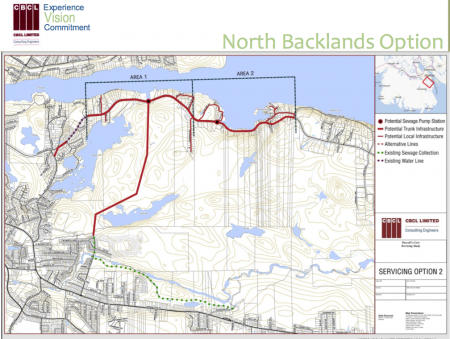 Screenshot from CBCL - North Backlands Option of sewage line placement