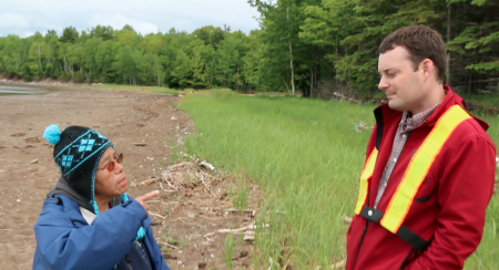 Pictou Landing First Nation band member Maurina Beadle speaks with Minister of the Environment Randy Delorey, at the site of last year's Northern Pulp effluent pipe burst. Delorey could have pushed through Bill 111 - An Act to Address Environmental Racism - during the spring session, but didn't. [Photo: M. Howe]