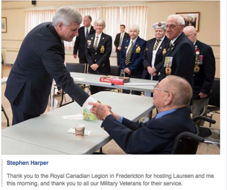 Harper at Fredericton Royal Canadian Legion. [Photo via Stephen Harper's facebook]