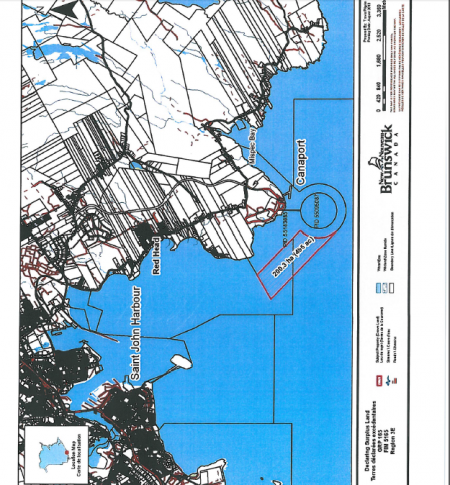 200.3 hectares of Submerged Crown Land was passed to an Irving subsidiary in 2013, in anticipation of Trans Canada's Energy East-related needs. [Map courtesy of New Brunswick Department of Natural Resources]