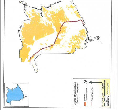 The path of the proposed Energy East pipeline, superimposed on existing Crown Land [Map: New Brunswick Department of Energy and Mines]