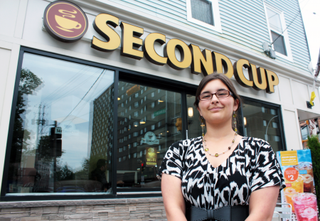 Second Cup barista Shelby Kennedy voted in favour of unionizing the Quinpool Road cafe. (Photo by Hilary Beaumont)