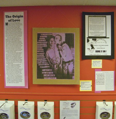 Poster-size pages from queer zines are on display at Venus Envy in Halifax.