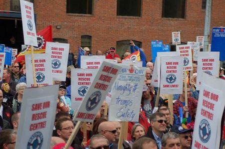 Newfoundlanders protest the closure of the St. John's Maritime Rescue Sub-Centre. [Photo: Mayday NL]