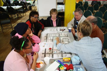Community members were encouraged to build their own vision of the future development. Photo Stephanie Taylor