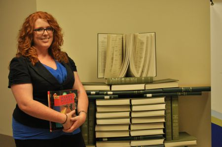 Mount St Vincent student Stacey de Molitor is heading up 'Bound for Shamattawa', an initiative to send books to a school/public library in a remote Manitoba First Nations community. One of the hopes is that the books will allow the school to offer a high school diploma program. [Photo: J. Grant]